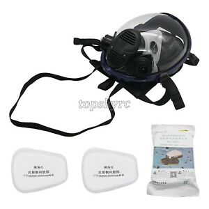 Full Face Gas Mask Respirator Mask For Painting Spraying Welding 7pcs set Tpus