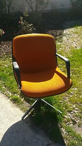 Vintage Steelcase Mid Century Modern Office Swivel Chair Orange