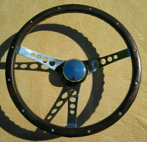 Vintage 60s Superior The 500 Wood Steering Wheel W Ford Spline Adapter 15 5
