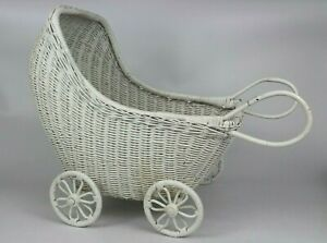 Vtg Large 17 White Wood Wicker Hooded Doll Buggy Stroller Baby Carriage Pram