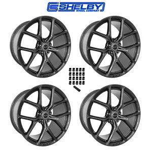 2015 2019 Mustang Shelby Staggered Gunmetal Wheels Lug Nuts 20 X 11 9 5
