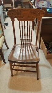 Four Antique Oak Pressed Back Chairs 1890 To 1910
