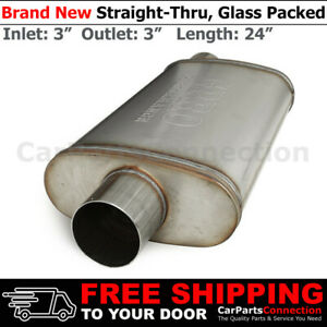 3in Offset In Out Stainless Steel Straight Thru Street Universal Muffler 256171