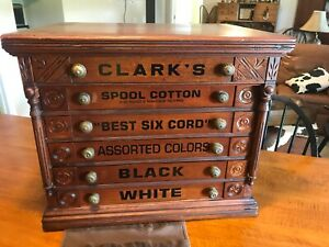 Antique Country Store Display Clark S Six Drawer Spool Cabinet Birds On Sides