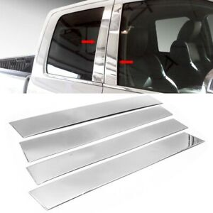 For 09 18 Dodge Ram Crew Quad Cab Stainless Steel Chrome Pillar Post Trim Covers