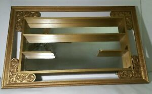 Turner Mid Century Modern Shadow Box Curio Wall Mirror Shelf Display Gold Gilt