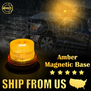 10 Led Car Bus Emergency Warning Strobe Beacon Round Alarm Flash Light 12v Amber
