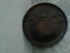 Primitive Antique Old Wooden Round Ottoman Dinning Table Made Of One Piece Tree