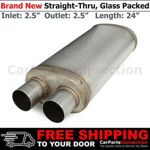 Highflow Straight thru Universal Muffler 2 5in Offset Inlet Dual Outlets 256286
