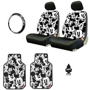 For Honda New Mickey Car Truck Suv Seat Covers Headrest Floor Mats Full Set
