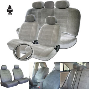 For Toyota New Grey Velour Fabric Car Truck Seat Steering Covers Full Gift Set