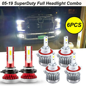 For Ford F250 F350 F450 2005 2019 6000k White Led Headlight Fog Light Bulbs 6pcs