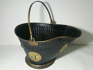 Vintage Reeves Metal Coal Ash Bucket Scuttle Can W Eagle