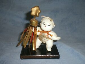 Cute Old Japanese Gofun Gosho Doll Holding Fire Banner 5 Tall For Boys Day