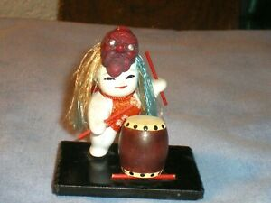 Nice Old Japanese Gofun Gosho Drummer Doll W Drum Mask 3 Tall For Boys Day
