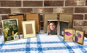 Vintage Lot Gold Embossed Metal Nice Picture Frames Single Double Various Sizes