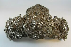 Antique Silver Turkish Belt Buckle Tughra Marked Ottoman Islamic Filigree 250g