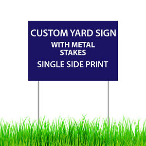 Custom Print Yard Sign Outdoor Garden Decor Double Sided Lawn Sign metal Stakes