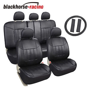 Universal Auto Fit Leather Seat Covers Set For Car Suv Trucks Black Front