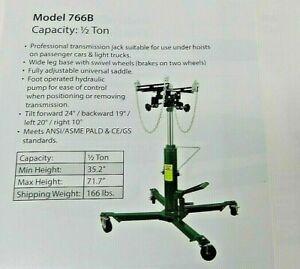 1000 Lbs Capacity 2 Stage Transmission Jack Under Hoist Style
