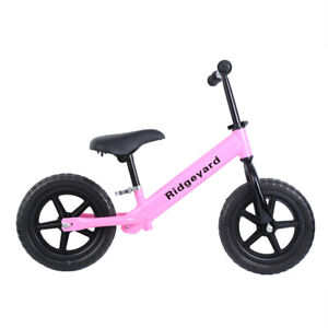 12 Kids Rally Balance Bike Training No Pedal Push Bicycle Steel Adjustable Seat