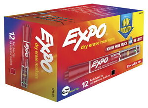 Expo Ink Indicator Dry Erase Chisel Tip Markers Red Pack Of 12