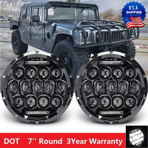 105w Led Lights 7 Round Black Projector Sealed Hi Lo Led Headlights With Drl
