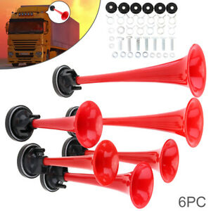 12v 178db Red Super Loud Six Trumpet Car Air Horn W compressor For Car vehicles