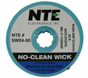 Nte Sw04 50 4 No clean Solder Wick Blue 50 2 5mm Made In The Usa