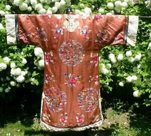 Antique Chinese Rose Gold Embroidered Figures In Garden Robe Jacket