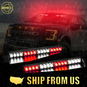 34 32led Red White Emergency Hazard Warning Traffic Visor Dash Strobe Light Bar
