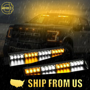 34 32 Led Amber White Car Emergency Warning Visor Split Deck Strobe Light Bar