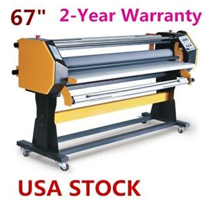 Us Stock 67 Full auto Single Side Wide Format Hot Cold Laminator With Stand