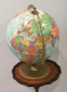 Vtg Replogle 12 Diameter World Nation Series Desk Globe On Metal Stand 17 Tall