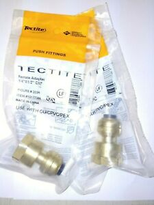 Lot Of 2 Tectite Sharkbite Style Push Fit 1 4 X 1 2 Fpt Female Adapter Brass