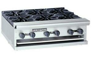 American Range 36in Commercial Counter Top Gas Hot Plate W 6 Open Burners