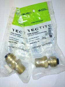 lot Of 2 Tectite Sharkbite Style Push Fit 3 8 X 1 2 Mpt Male Adapter Brass