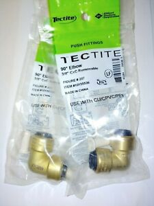 lot Of 2 Tectite Sharkbite Style Push to connect 3 8 90 Degree Elbow Brass