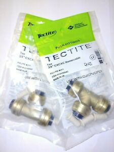lot Of 2 Tectite Sharkbite Style Push to connect 3 8 X 3 8 X 3 8 Tee Brass