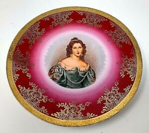 Antique Gorgious Noble Lady Portrait Cabinet Plate Porcelain Rose Tones Gold