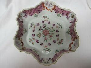 Rare Antique 19c Staffordshire Pearlware Queens Rose Scalloped Bowl Great Detail