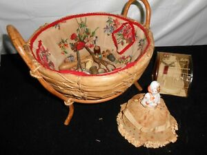 Antique Vintage Sewing Basket Porcelain Doll Pin Cushion Thimbles W Accessories