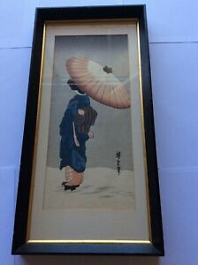 Vintage Japanese Woodblock Print Lady With Parasol