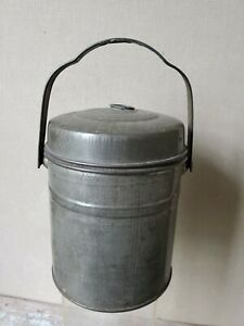 Antique Tin Can Lunch Pail Bail Handle Towel Milk Lunch Beer