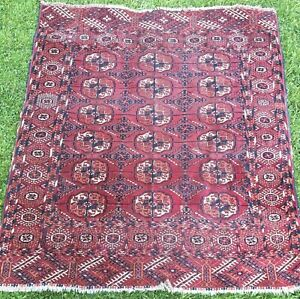 Old Wool Persian Oriental Hand Knotted Rug Carpet Trad Design Bukhara 115x125cm