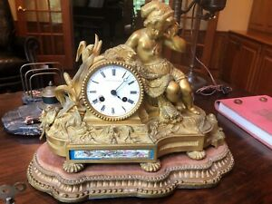 Antique French Ormolu And Sevres Porcelain Clock Young Boy Fishing Nautical