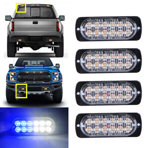 4pcs White Blue 12led Strobe Light Bar Car Truck Flash Warning Hazard Emergency