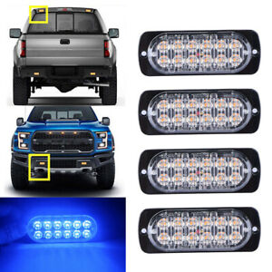 4x Blue 12led Strobe Light Bar Car Truck Flash Warning Hazard Emergency Grill