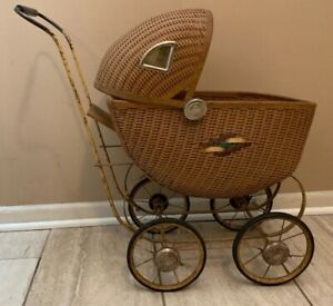 Antique Wicker Baby Doll Buggy Carriage Stroller Original Condition 19 1507