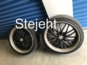 20 X 8 5 10 Mrr Gt 1 Black Machined Staggered Wheels Lip With Tires
